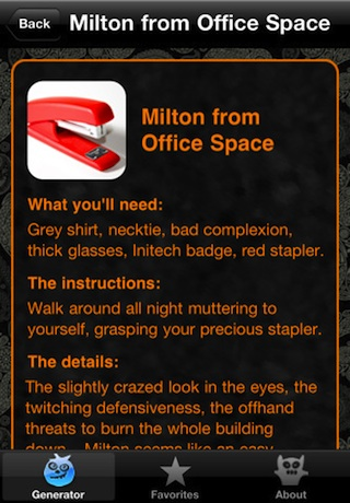 Halloween Costume Generator IPhone App Review