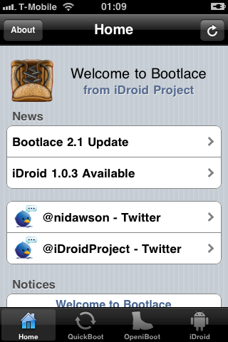 iDroid with BootLace
