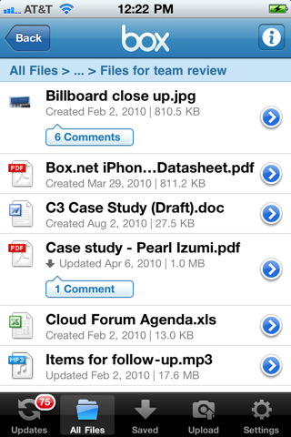 Box.net iPad app