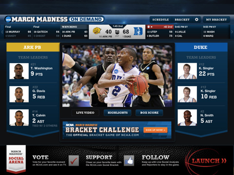 NCAA March Madness On Demand for iPad