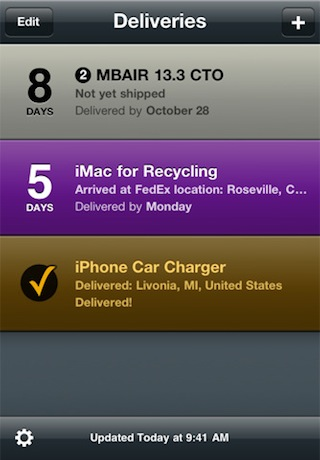 Delivery Status touch, a package tracker - on the iPhone
