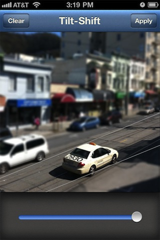 Instagram add Tilt-Shift filter