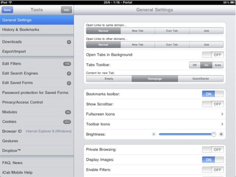 iCab Mobile (Web Browser) for iPad