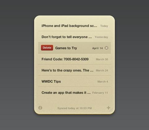Notefile Dashboard widget