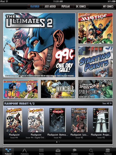 Comics by Comixology on the iPad
