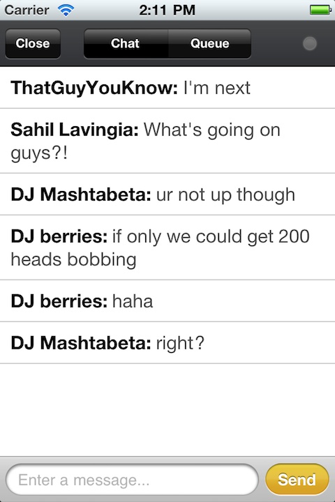 Turntable.fm iPhone app chat rooms
