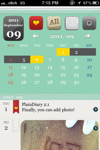 PlainDiary iPhone app