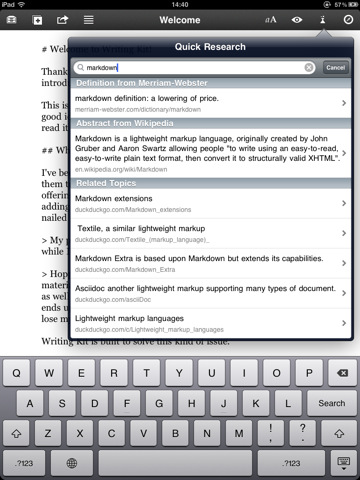 Writing Kit iPad app review