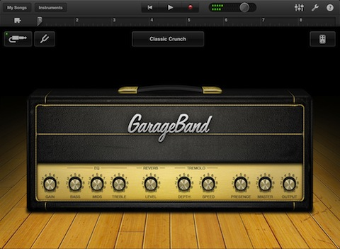 GarageBand for iPad Amps