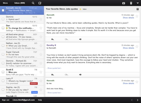 Gmail for iPad app review