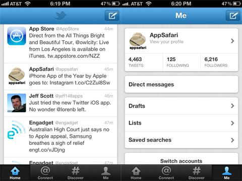Twitter app 4.0 update
