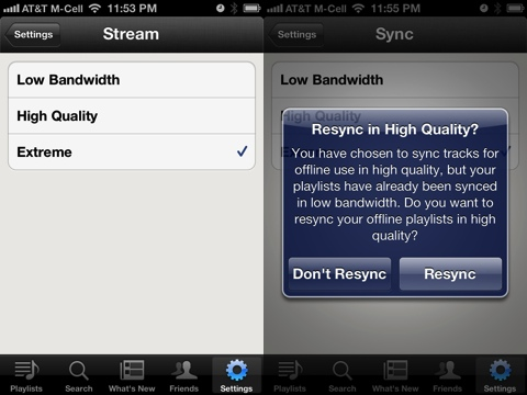 Spotify iPhone app Very High Quality 320kbps