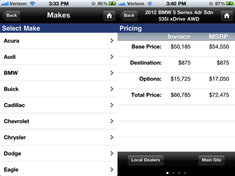 NADA Auto Guides app for iPhone
