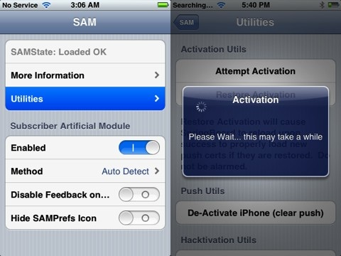 SAM iPhone unlock activation