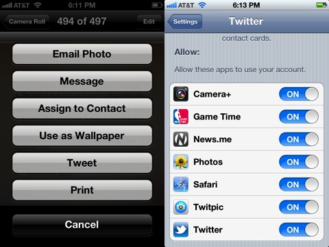 iPhone iOS Twitter integration for photos