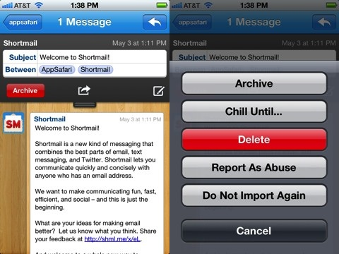 Shortmail iPhone app review