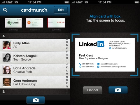 Cardmunch business card reader by linkedin iphone app review cardmunch iphone app review reheart Images