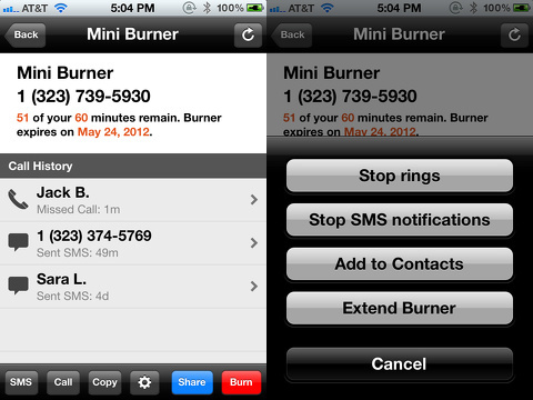 burner disposable phone numbers iphone app
