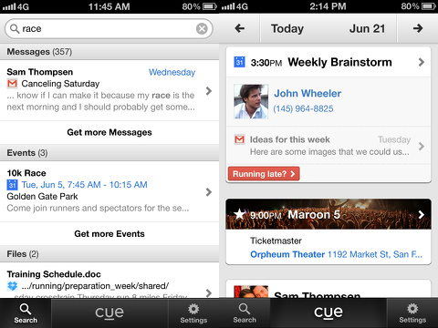 cue-know-whats-next iphone app