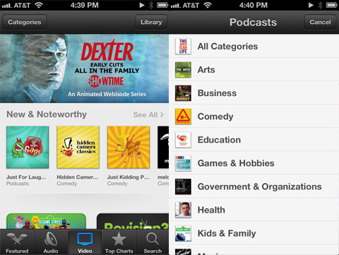 Podcasts app review - Search