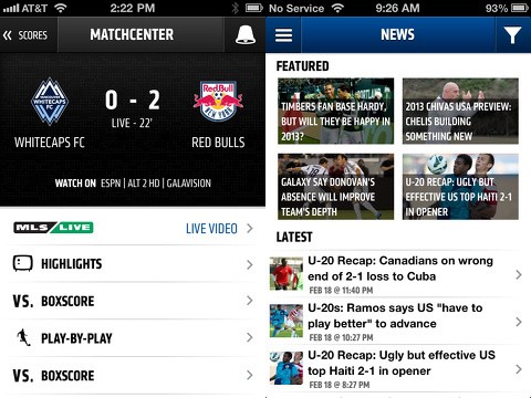mls matchday iphone app review