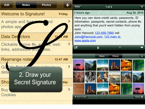signature secret notes & photos iphone app review