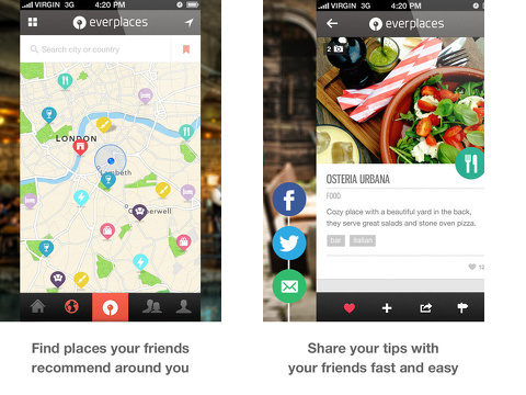 everplaces the social travel guide iphone app review