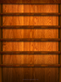 Wooden iPad Shelf Wallpaper in Portrait View