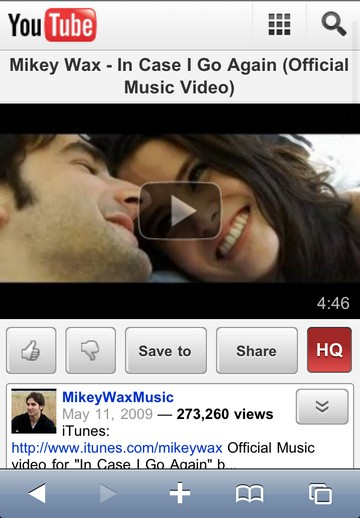 YouTube mobile web