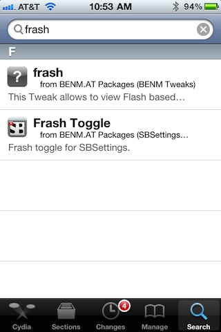 Frash installer in Cydia