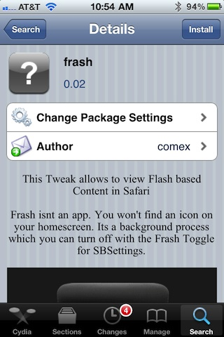 Frash Package Information page in Cydia