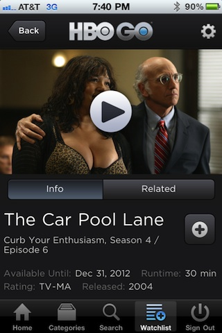 HBO GO iPhone app