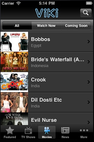 Viki app for iPhone