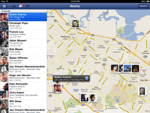 Facebook for iPad Checkin