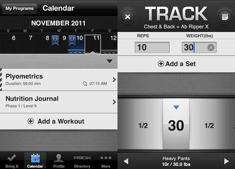 P90X iPhone app tracking your workout