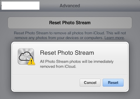 Reset Photo Stream on iCloud.com