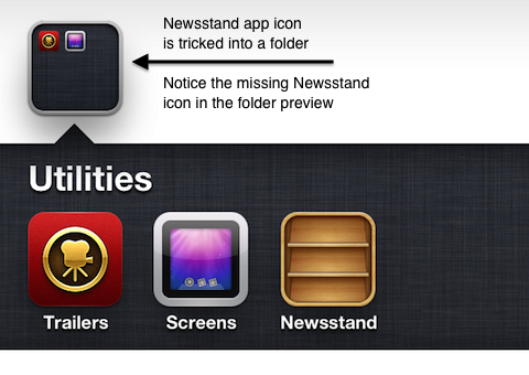 Newsstand iPhone app in a folder