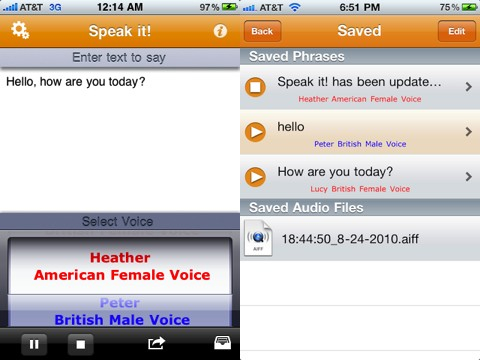 Speak it! Text to Speech iPhone app review