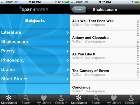 Spark Notes iPhone app review
