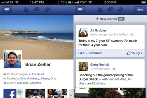 New Facebook 5.0 for iPhone