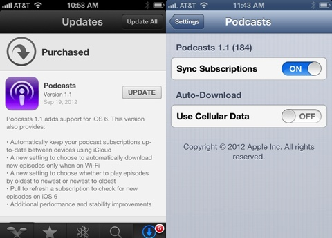 Podcasts for iPhone gets iCloud support