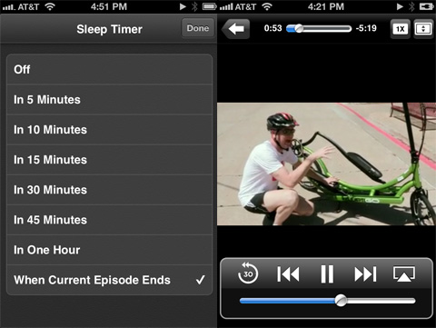 Podcasts app review - Sleep timer