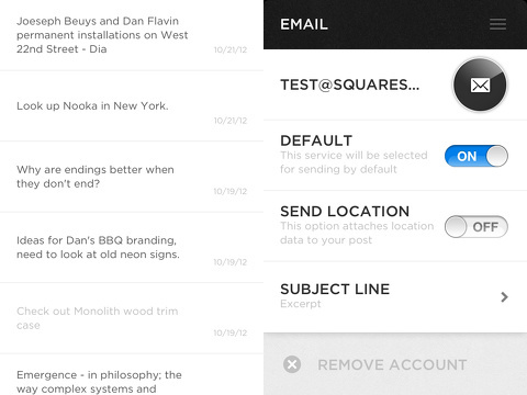 squarespace note iphone app