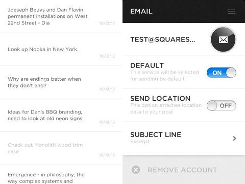 squarespace note iphone app