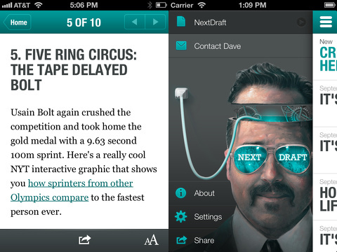 nextdraft the days most fascinating news iphone app review