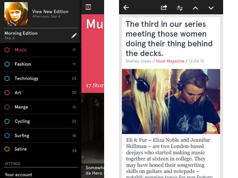 Material: Personalised news, blogs & RSS stories